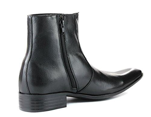 Hommes Classique Cheville Chelsea Cuir bottines- noir et brun - Nero (nero)