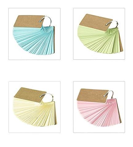 caleqi 200Stück Multicolor Speicherkarte, Wort Karten Mini Memo Pad Notizbücher Memorandum Note Pads blanko Karten Wort Studie Karten (4Farbe)