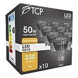 10Stück TCP LED GU10LED Lampe warm weiß 3000K, 5W entspricht 50Watt Halogen Lampe, nicht dimmbar, 330Lumen, 36° Abstrahlwinkel, 10Stück