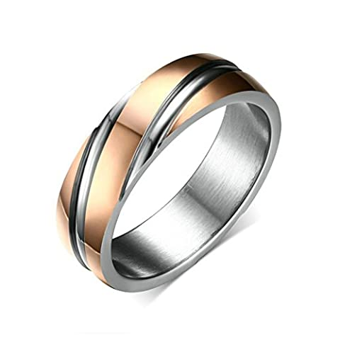 Aooaz Mens Womens Stainless Steel Ring, 6MM Stripe Charm Wedding