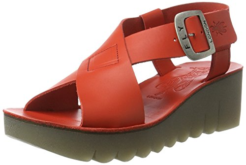 FLY London Yild880, Sandales Bout Ouvert Femme Rouge (Scarlet 002)