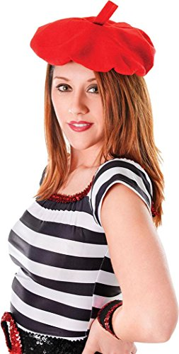 Unisex Kleid Kostüm Party Kopfbedeckung Zubehör Französisch Künstler Baskenmütze Einheitsgröße - Rot, Einheitsgröße, Einheitsgröße