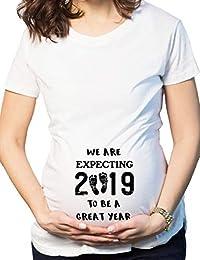 BESBOMIG Schwanger Weihnachten T-Shirt Kurzarm Polyester Weißes T-Shirt  Frauen Mutterschaft Blusen Lustige db372f7c30