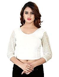 Fressia Fabrics Women's Stretchable Readymade Saree Blouse Crop Top Choli 107_WHITE