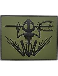 Olive Drab US Navy Seals Bone Frog Skull Skeleton DEVGRU OD Morale PVC Touch Fastener Patch