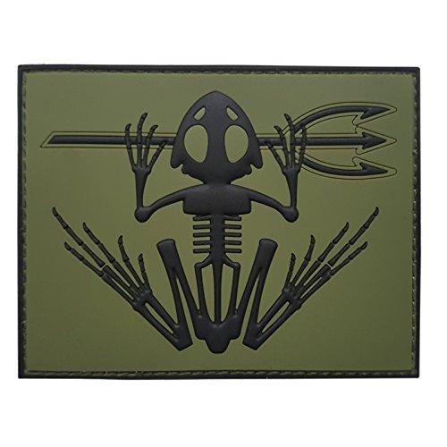Olive Drab US Navy Seals Bone Frog Totenkopf Skelett DEVGRU OD Morale PVC Touch Fastener Aufnäher Patch (Us Drab Navy Olive)