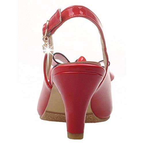 ENMAYER femme Chaussette Cheville Slingback Pour Chaussure Talons Mi-longue Boucle Bout Rond Sandales Manches Courtes Bowtie Rouge