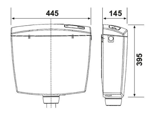 Spülkasten Topas | Kunststoff | Spül-Stopp-Funktion | 6-9 Liter | Tiefspülkasten | Spartaste | WC, Toilette | Weiß