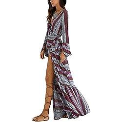 KE1AIP Womens Boho flojo cuello en V de playa de encubrimiento de manga larga lado vestido de vestir impreso bandage ajustable Maxi vestido XXX-Large