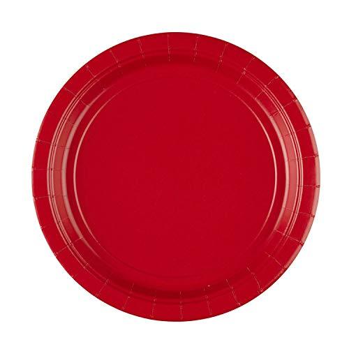 amscan 8 Papierteller, Papier, Apfelrot, One Size, 12 (Blau Partyartikel Rot, Und Weiß)
