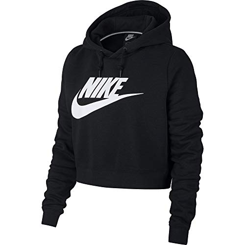 Nike Damen Rally Crop Hoodie, Black/White, M (Frauen Nike Elite Sweatshirt)