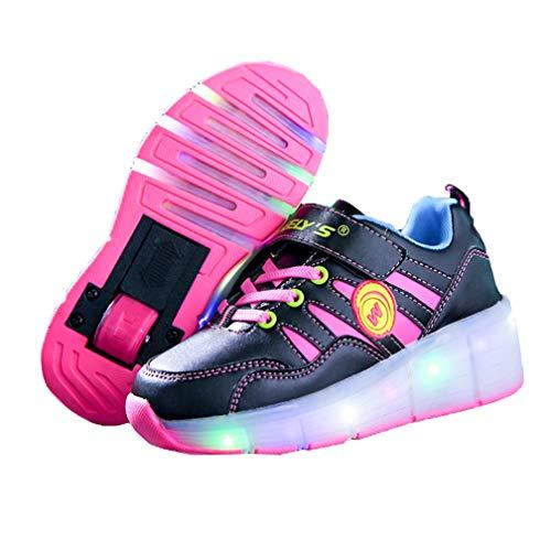 Kinder Schuhe mit Rollen Skateboardschuhe für Jungen Mädchen Rollschuhe Sportschuhe Turnschuhe Laufschuhe Sneakers mit Rollen LED Wheels Schuhe Rot 31