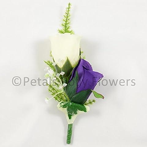 Petals Polly Flowers–Ramillete de boda artificial, seda doble Rose Ojal en morado/marfil