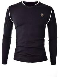 D&R Fashion Hommes Sweat Noir Casual Slim Fit 100% Cotton Jumper Designers Cut