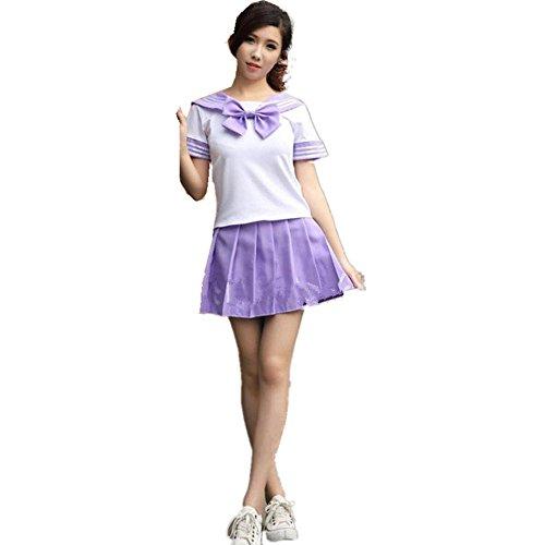 Schön Schule Uniform Cosplay Kostüm Kleid Zum für Erwachsene Mädchen Maid (XL, Lila)