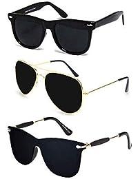 Sheomy UV Protected Aviators Men's Sunglasses (SUN-005) | Avaitor Sun Glasses For Man | Wayfarers Black Combo