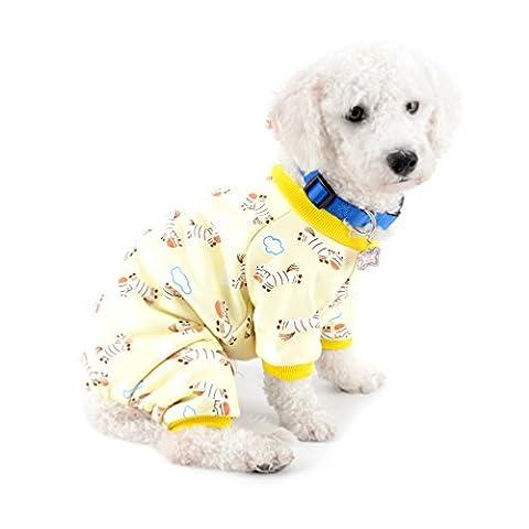 Selmai Petit Chien Hiver Pyjama en polaire doublée Zebra pour animal domestique Chiot Doggie Intérieur JumpSuit Manteau Teckel Chihuahua Vêtements tenues Vêtements