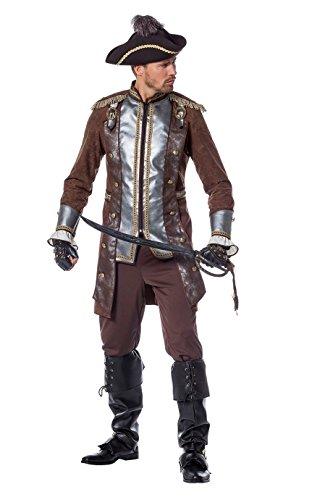 Piraten-Kostüm Herren Piraten-Jacke mit Epauletten und Hose braun Herrenkostüm Pirat Freibeuter Karneval Fasching Hochwertige Verkleidung Fastnacht Größe 50 Braun
