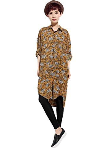MatchLife Femmes Imprimé Fleur Manches Longues Robe Jaune