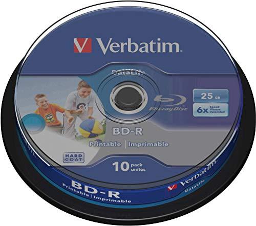 Verbatim BD-R SL Datalife, Blu-Ray-Disk 25 GB - 6-fache Brenngeschwindigkeit - Kratzschutz -  10 Stück Spindel
