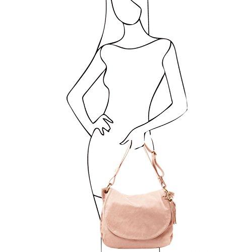 Tuscany Leather - TL Bag - Borsa morbida a tracolla con nappa Rosso - TL141110/4 Nude