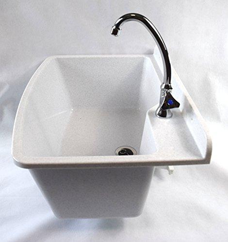 Ausgussbecken MAXIMUS, Farbe: weißer granit, inkl. Kaltwasser-Armatur