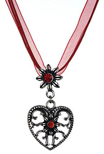 Trachtenschmuck Trachten Damen Halskette Halsband Band Kette Hirsch Herz Edelweiss Anhänger mit Steinen passend zum Dirndl Bluse Kniebundhose Lederhose Oktoberfest Wiesnfest (rot, Model-2)
