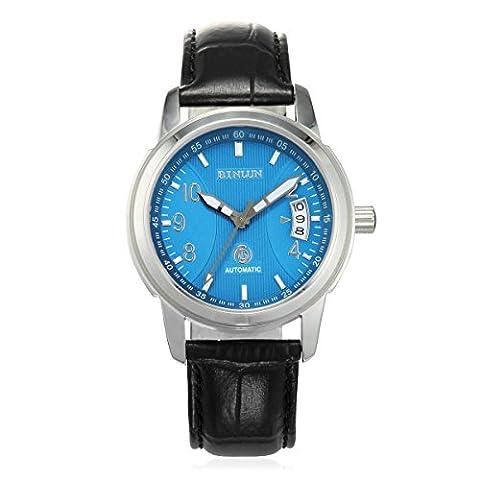 Binlun Pour des hommes Montre Cadran Bleu Big Dial Montre Bracelet Cuir Noir Etanche Montres Automatiques