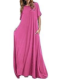 73db74fe5a8 Kidsform Women Maxi Dress Long Short Sleeve Baggy Ball Gown Solid Pocket  Party Long Dresses
