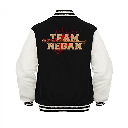 Fashionalarm Herren College Jacke - Team Negan | Varsity Baseball Jacket | Fan Sweatjacke zur Serie T-W-D | Dead Walking Lucille The Saviors Schwarz / Weiß