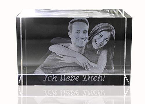 VIP-LASER | 3D | Glasfoto Kristall - Mit Deinem Familienfoto in 3D graviert | 2 Personen/Tiere in 3D | Das persönliche Geschenk für die...