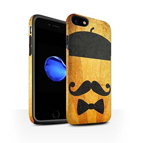 STUFF4 Matte Harten Stoßfest Hülle / Case für Apple iPhone 8 / Schnauzbart Muster / Retro Schnurrbart Kollektion Barett Hut