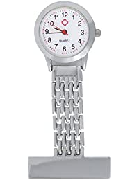 TRIXES Nurses Silver Fob Watch - Stainless Steel Quartz - Doctor Pocket Watch - Medical Professional Clip On Fob Watch
