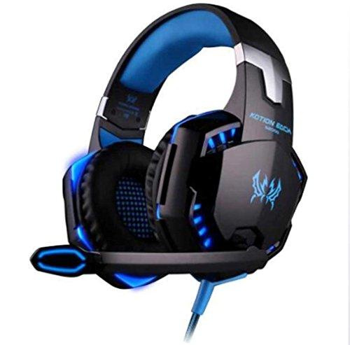 Auriculares YFQH G2000 Stereo Gaming para PC Xbox One PS4 con auriculares con cancelación de ruido, micrófono, luz LED, envolvente, ordenador portátil, Mac, iPad, PC, conmutador Nintendo, Wii U, control de volumen Bluetooth,Azul,A MJY