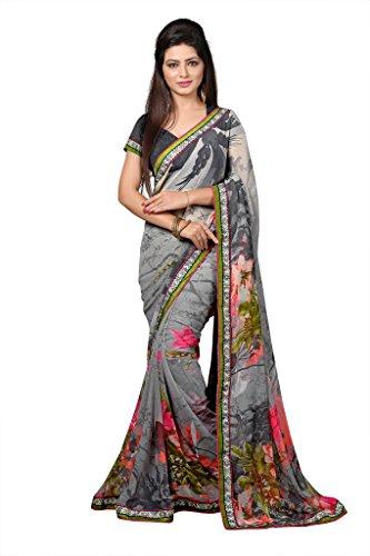 GL Sarees Casual Printed Grey Chiffon Saree For Women