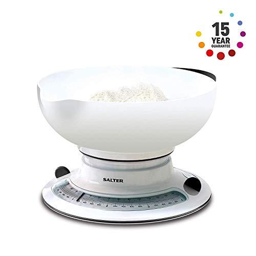 SALTER Küchenwaage mit Zuwiegefunktion, Rotierende, analoge Messscheibe, Aqua Weigh für Flüssigkeiten, Große Schüssel mit Ausguß inklusive, Gummi Handgriffe, bis zu 4kg/4l
