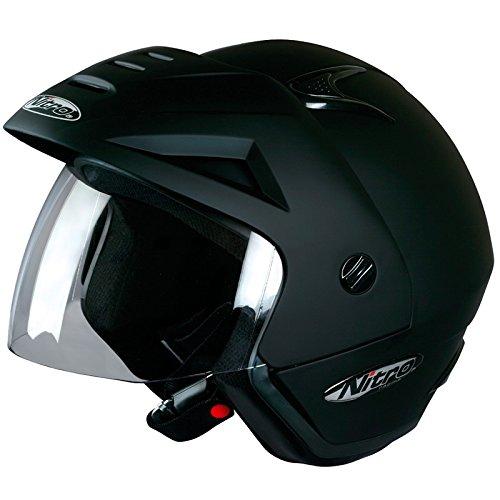 Nitro X512-V Casque jet de moto scooter ouvert–Noir satiné