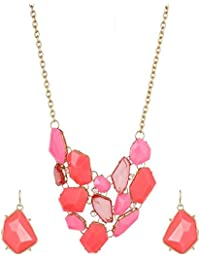 Fayon Fashion Statement Pink Acrylic Stones Charm Necklace With Earrings