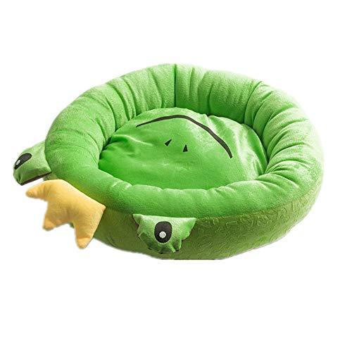 Mzdpp Tragbare Ovale Frosch Muster Katze und Hund Weiches Bett Abnehmbar und Waschbar 48X48X16 cm
