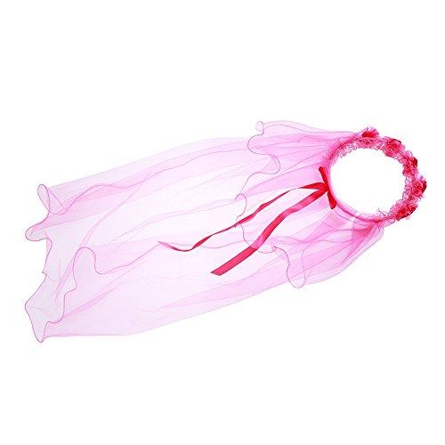 Preisvergleich Produktbild Gluckliy 2 Schichten Schleier Kinder Bogen Kopfschmuck Gilrs Haar Zubehör (Rose Rot)