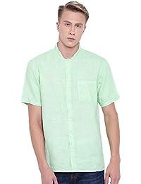 778c8a238d6 Men s Lime Pure Linen Short Sleeve Regular FIT Band Collar Kurta Shirt