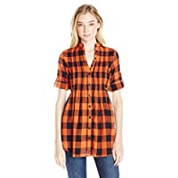 She's Cool Juniors Roll Tab Sleeves Pintuck Tunic, Orange/Black, L