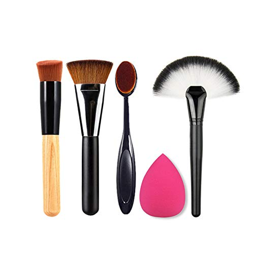 Yaoaofron New 5pcs Makeup Brush Powder Blush Foundation Brush Sponge Puff Contour Brush Female Beauty Face Tools Fashion Women