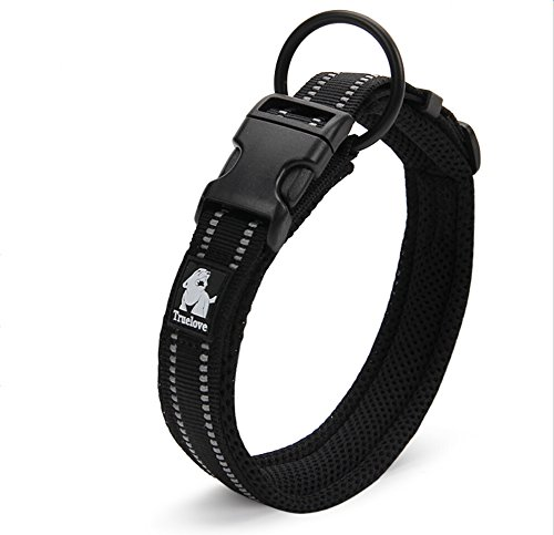 Adjustable 3M Reflective Dog Collar Nylon Pet Collar Padded 1″ Large Breathable Anti-choke Anti-rub Mesh with Ring