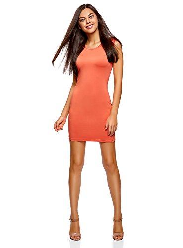 oodji Ultra Damen Enges Jersey-Kleid, Orange, DE 34 / EU 36 / XS