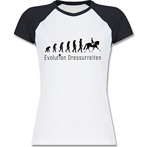 Shirtracer Evolution - Dressurreiten Evolution - Zweifarbiges Baseballshirt/Raglan T-Shirt für Damen Weiß/Navy Blau