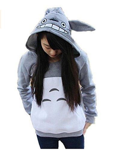 Unisex Anime Mein Nachbar Totoro Sweatshirt Top Freizeit Pullover Damen Männer (Grau#2) Gr. (Frauen Kostüm Totoro)
