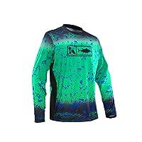 Men's Performance Vented Fishing Shirt Long Sleeve Shirt Mesh Side Vents UPF 50 Dye Sublimation Print Green