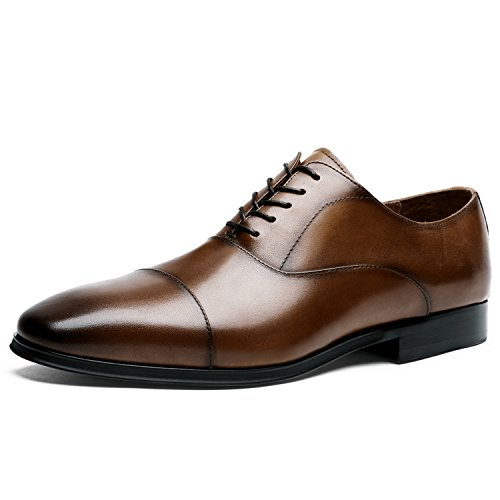 Desai Männer Casual Formal Business Lace Up Echtes Leder Oxfords Schuhe für Hochzeit oder Büro,  44 EU, Braun Lace-up Oxford Schuhe