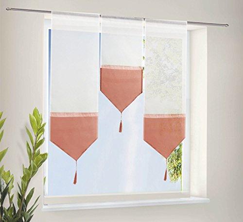 Scheiben Gardinen Set bestehend aus 3 transparenten Scheibengardinen mit Tunneldurchzug und Beschwerungsstab Terrakotta, 20112